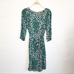 Boden Poppy Floral Print Lined Dress Pink Green 8L